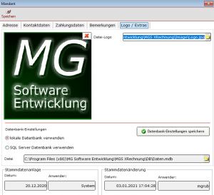 MGS XRechnung Datenbankauswahl + Logo